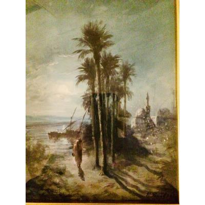 Paul Pascal.orientalist Landscape In Gouache, Representing A Mosque By The Water