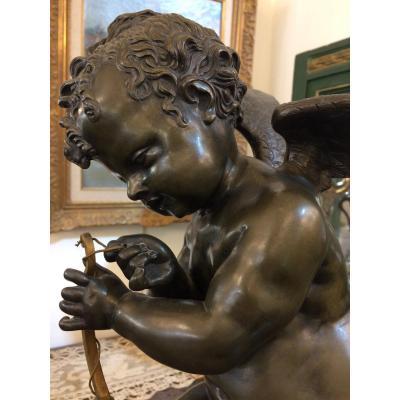 L'amour, ou Cupidon , mettant une corde à son arc : bronze De Charles Gabriel Lemire , sculpteur Français