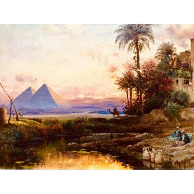 Sunset Over The Pyramids In Egypt, Oil / Canvas By Carl Wuttke, Orientalist Painter
