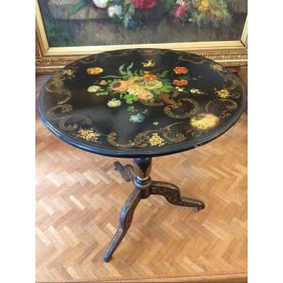 Pedestal Table With Tripod Base With Tray Decorated With Flowers And Mother-of-pearl Inlay
