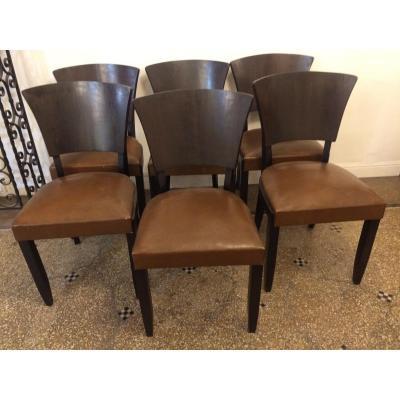 Series Of Six Art Deco Chairs, 1930s, In Macassar Ebony