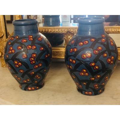 Paire De Grands Vases  Art Déco De Émile Simonod  . SISPA , à Chambéry , En Savoie