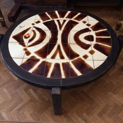 Table Basse Années 70, En Céramique à Décor Stylisée De Poisson
