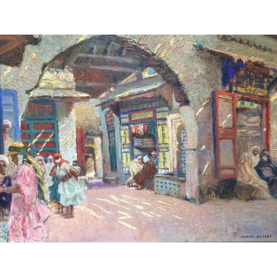 Matteo Brondy, peintre orientaliste : le Café Dans La Médina ,au Maroc (Afrique du Nord)