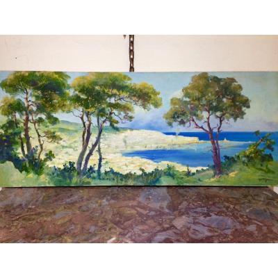 Paul Fenasse, Peintre Orientaliste : La Baie D'alger, Huile Sur Toile 40 X 100 Cm