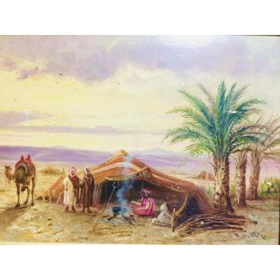 Ernst Huber: Tableau Orientaliste Aux Palmiers