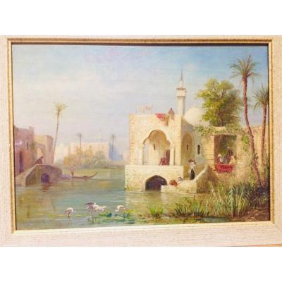 Third Orientalist Painting In The Series Of Three Attributed To Ernst Huber