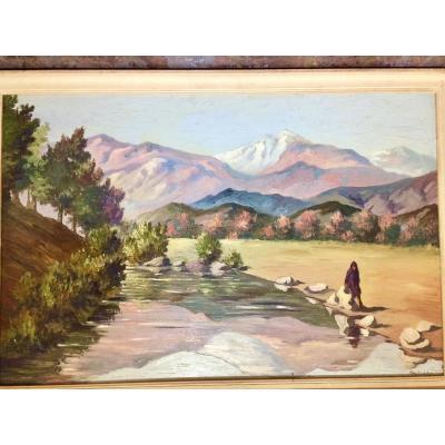 Pierre De Saedeler, Peintre Orientaliste. « L'oued Dans L'atlas, Maroc «