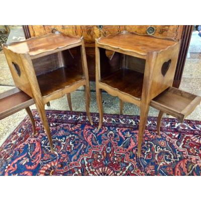 Pair Of Bedside Tables Or Nightstands In Walnut