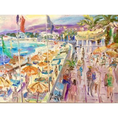 Beach In Golfe-juan, Oil On Canvas By Yvon Grac