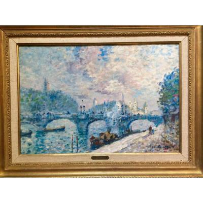 Paris, The Seine And Notre Dame: Merio Ameglio, Impressionist Oil On Canvas