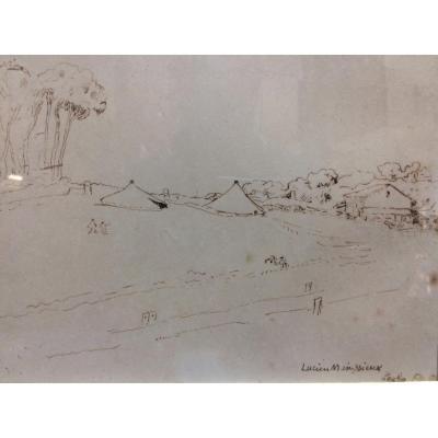 Landscape Of Kouba, Algeria, Chinese Ink By Lucien Mainssieux