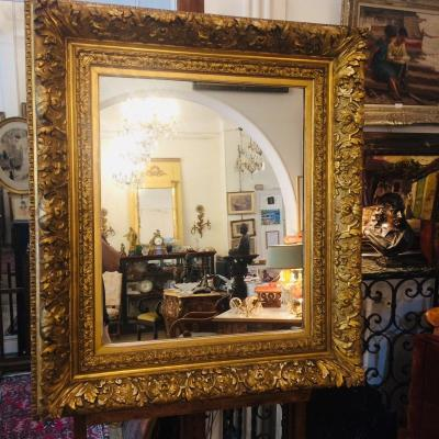 Large Golden Frame Forming Mirror 19 Th Century