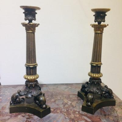 Pair Of Bronze Candlesticks With Two Patinas
