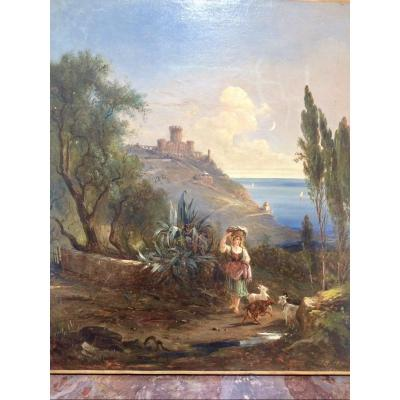 Nice, The English Castle At Mont Boron, Painted By Jules Defer
