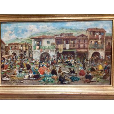 Market Day In Noya, Galicia (spain) Painted By Miguel Pradilla Gonzalez (1884-1965)