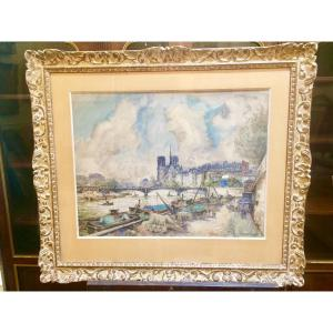Frank-will : Large Watercolor Of Notre Dame De Paris And The Quays Of The Seine