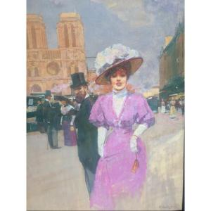 Elegant With The Umbrella In Front Of Notre-dame. Victor Guerrier.
