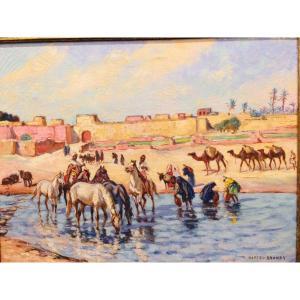 Matteo Brondy :cavaliers Et Porteuses D'eau Au Bord De L'oued Au Maroc