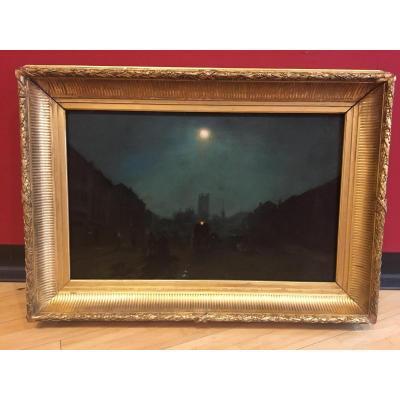 Ecole Française Du XIX ème Siècle - Une Rue, La Nuit Au Clair De Lune