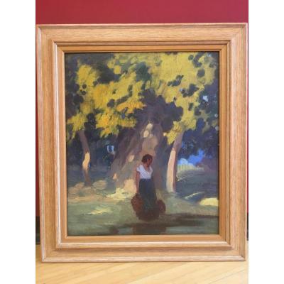 Marcel Féguide (1888-1968) - Jeune Fille Sous l'Arbre