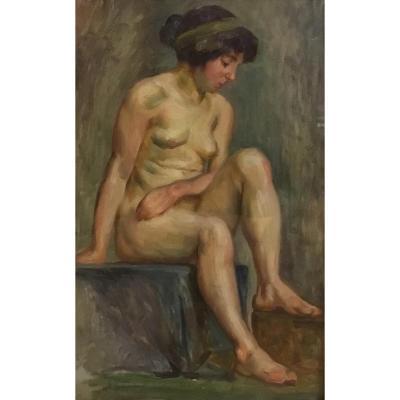 "ATTRIBUÉ À JOSEPH AUGUSTE BRUNETTON (1863-1923) ""Nu assis"""