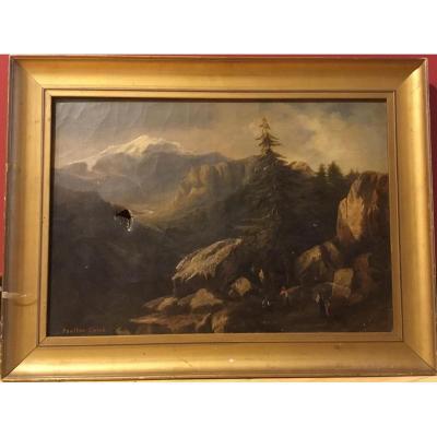 """Claude-antoine Ponthus Cinier (1812-1885) """"paysage De Montagne Animé"""""""