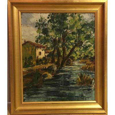 """Lucien Poignant (1905-1941) """"le Grand Baignoir à Gironcourt"""" (vosges), 1925."""