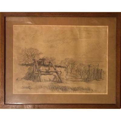 """ENNEMOND DREVET (1886-?) """"Le puits"""""""