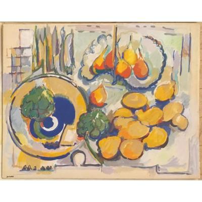 Nature Morte Aux Poires Et Aux Citrons