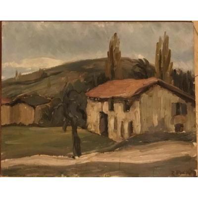 """RENÉ BESSON (1904-?) """"Une ferme"""""""