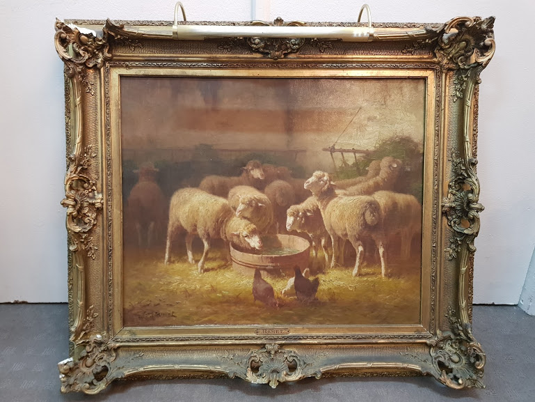 """""""sheep In The Stable"""" By Jules Ramet 19th Century"""