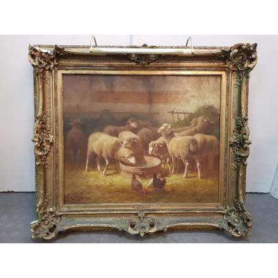 """Tableau """" Les Moutons Dans l'étable""""de Jules Ramet 19eme"""