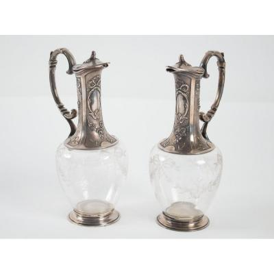 Pair Of Carafes Silver Plated 1900 Signed By Gallia (christofle)