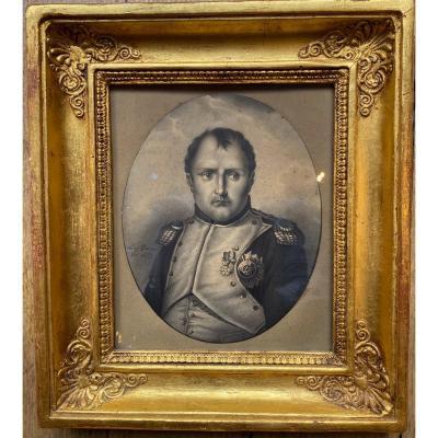 Portrait Dessin De Napoleon Bonaparte. Par Eugène Gomond 1827