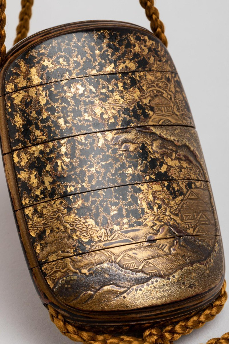 Five-case Japanese Gold Urushi Lacquer Inro, Japan Edo Fin 17th-early 18th-photo-1