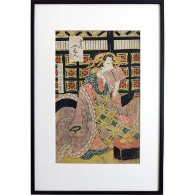 Estampe Par Kikugawa Eizan Série Des Cinq Courtisanes, Japon Edo XIXe