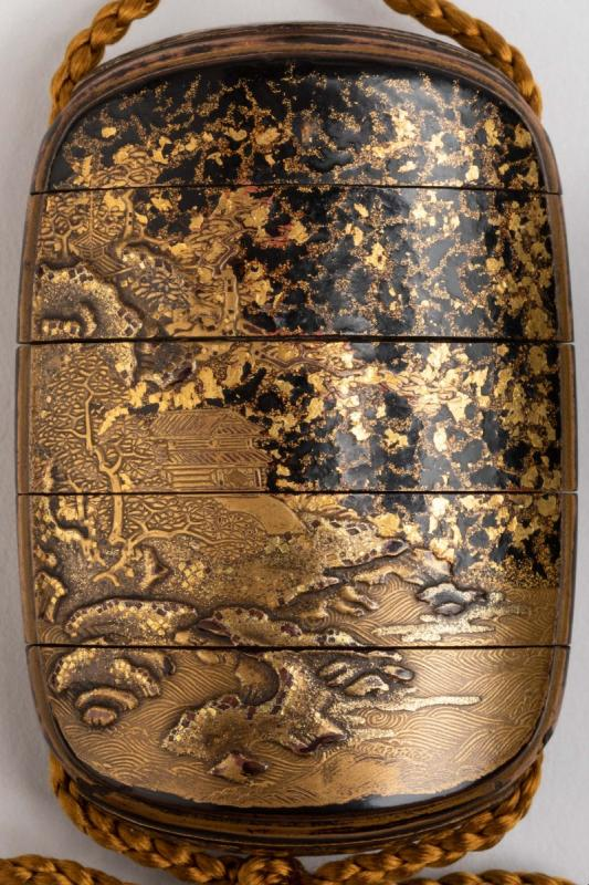 Five-case Japanese Gold Urushi Lacquer Inro, Japan Edo Fin 17th-early 18th-photo-3