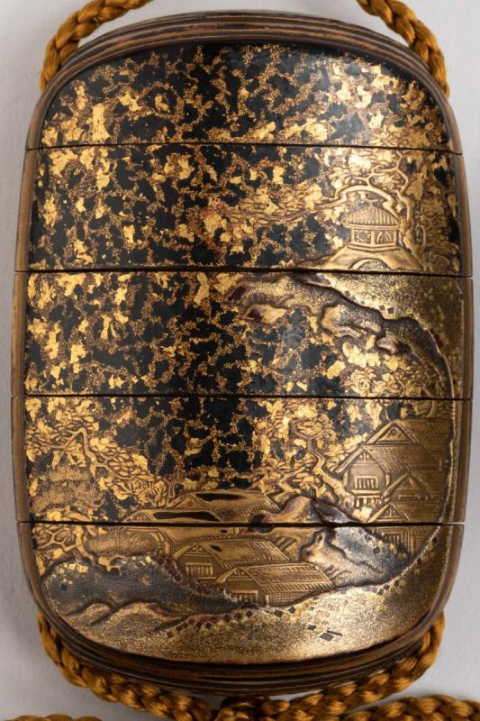 Five-case Japanese Gold Urushi Lacquer Inro, Japan Edo Fin 17th-early 18th-photo-4