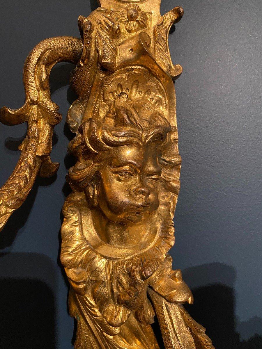 Pair Of Louis XIV Gilt Bronze Sconces-photo-2