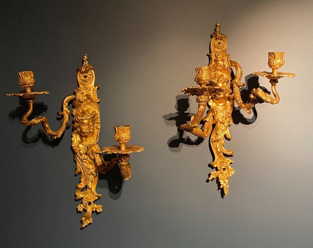 Pair Of Louis XIV Gilt Bronze Sconces