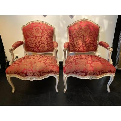Pair Of Flat Back Armchairs By