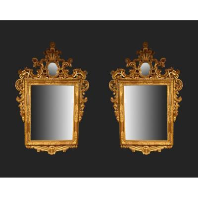 Venise Paire de Miroirs En Bois Doré