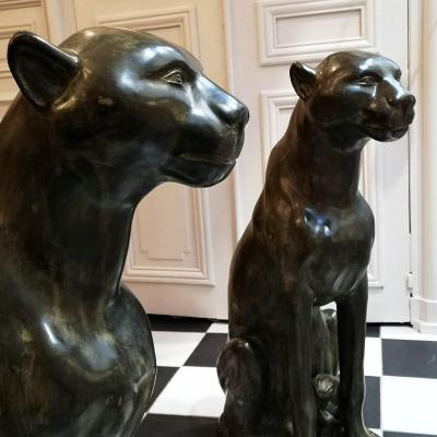 Pair Of Panthers In Bronze