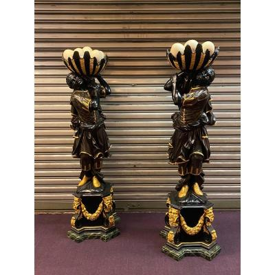 Pair Of Nubians, Venice XIXth Century