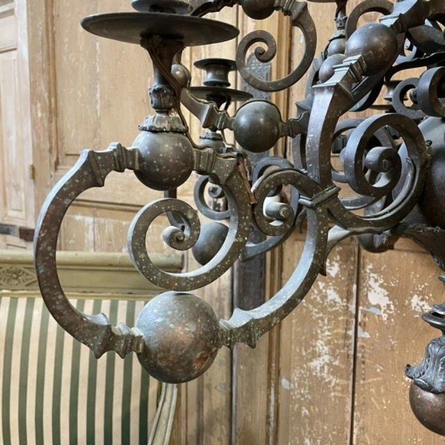 Grand Lustre Bronze Ancien XIXeme French Chandelier Empire-photo-4