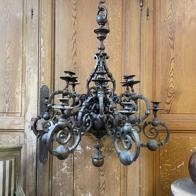 Grand Lustre Bronze Ancien XIXeme French Chandelier Empire