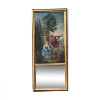 Trumeau Miroir Peinture Scène Galante Bois Doré