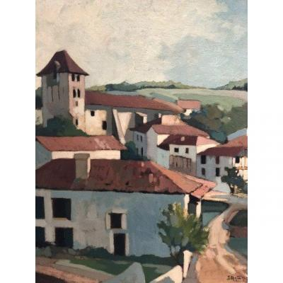 Dante Antonini Painting Basque Country Ancient Saint Jean De Luz Ciboure Hst