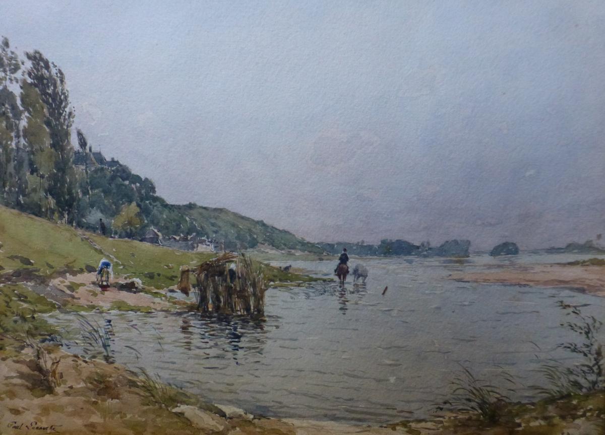Paul Lecomte (1842-1920) Chevaux Au Bain à Chaumont Sur Loire, Aquarelle